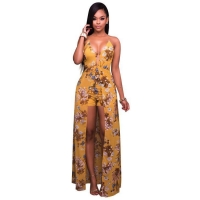 Spaghetti Strap Chiffon Maxi Overlay Romper V Neck Short Pants Long Dress