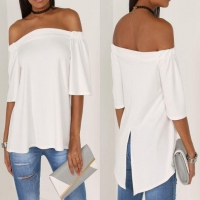 Latest Styles Womens Off the Shoulder Casual T Shirt Short Sleeve Tops with Back Split New Look