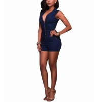 China Sleeveless Deep V Neck Zip Blue Denim Jean Shorts Romper on sale