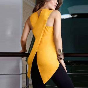 China New Arrival Women Cross Back Tank Tops Irregular Hem Sleeveless Tee Vest Tops on sale