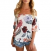 China Ladies Floral Print Off the Shoulder Blouses 2017 Short Sleeve Boat Neck Loose Tops for sale