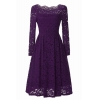 China Vintage Style Floral Lace Swing Dress with Long Sleeve Boat Neck for Cocktail Party for sale