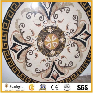 China Culture Stone Round Flower Marble Stone Waterjet/Medallion Pattern Inlay f on sale
