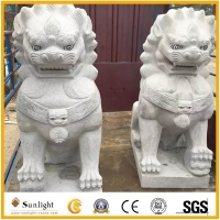 China Culture Stone Lion Marble Stone Carving Animal for Garden Decoration on sale