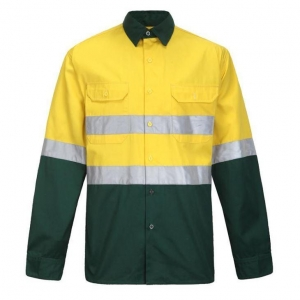 China High Visibility Two Tones Cotton Long Sleeve Shirts For Men With Tape on sale