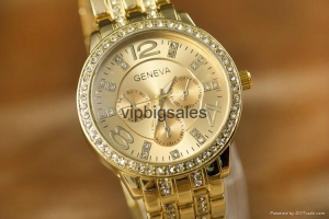 China Wholesale Price Geneva Watch Wrap Quartz Crystal Watch Rose Gold Color Casual on sale