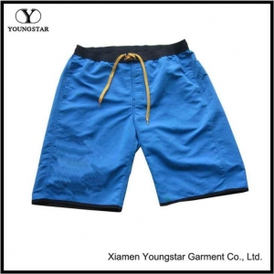 China Mens Microfiber Blue Velcro Elastic Waist Shorts Short Pants on sale