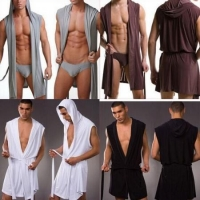 4 Colors Sexy Men Underwear Bathrobe with Hat (TLDN41)