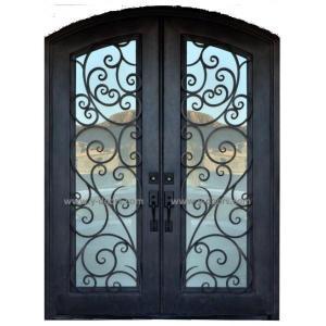 China Steel gate Wrought Iron Door Eyebrow Doule steel Door on sale