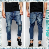 China Men's Acid Washes Holes Broken Blue Hip Hop Slim Fit Denim Jeans on sale