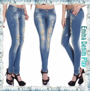 China New fashion super distressed washed womens indigo skinny denim jeans for lady on sale