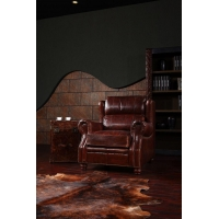 China Vintage Style Antique Leather Single Sofa Chair Manufacturer on sale