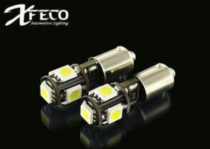 China CE BA9S T10 W5W Led bulb For Turn signal lights SMD 5050 x 5 CANBUS Lamp White on sale