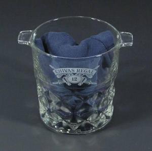 China Chivas Regal 12 Year Old Liquor Crystal Ice Bucket Diamond Cut 2003 France on sale