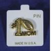 China #1 FOOTBALL MOM Lapel Handbag Hat Pin Brooch Gold Metal Superbowl Sports for sale
