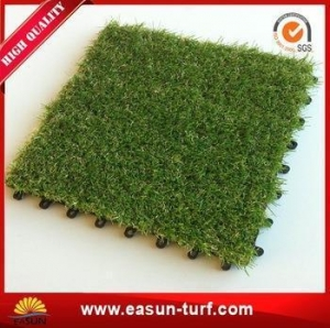 China 20mm Height Interlocking Fake Artificial Grass Lawn Tiles on sale