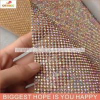China shinning 2mm/3mm/4mm hotfix crystal AB rhinestone gold mesh with aluminum base for decoration on sale