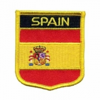 China Custom Spain Flag Shield Embroidery Patches With PVC on sale