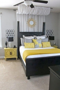 China Bedroom Grey Yellow And Black Bedroom on sale