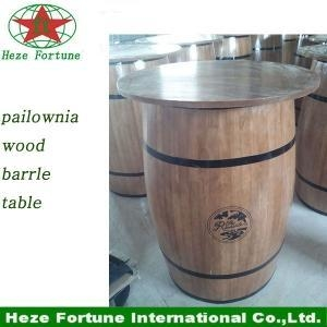 China restaurant furniture paulownia wood barrel bar table on sale