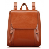 Contact Now Classical Walnut Fashion Faux Leather Backpack for Women with Flap