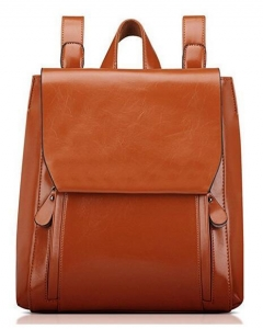 China Contact Now Classical Walnut Fashion Faux Leather Backpack for Women with Flap on sale
