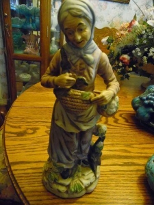 China Art Glass Large Vintage old lady figurine, with gathering baskets on sale