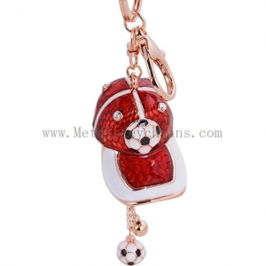 China New Football Hat Match Gift Metal Football Hat Ornament Automobile Key Buckle Alloy Artware on sale