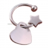 China Creative Semi Ring Double Star Button Key Chain Lovely Star Key Chain Auto Key Ring Lovers Key Ring for sale