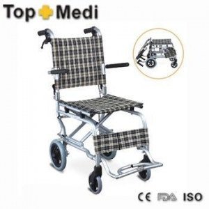 China Topmedi folding travel aluminum airport wheelchair on sale