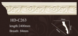 China High quality polyurethane moulding HD-Cor0008 PVC wrap pu Cornice and Crown moulding on sale