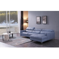 Niagara Blue Leather Sectional Sofa with Duck Feather Cushions and Metal Feet