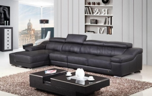 China Black Thicker Leather Sectional Sofa with Slding Seats and Adjustable Headrests on sale