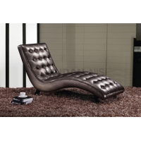 Leather Chaise Lounge Chair with Pins on Seating and Wooden Legs