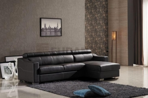 China Leather Folding Corner Sofa Bed with Storage Chaise and Full Size Mattress on sale