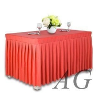 Wholesale wedding banquet hotel fancy ruffled pink table skirt,table cloth