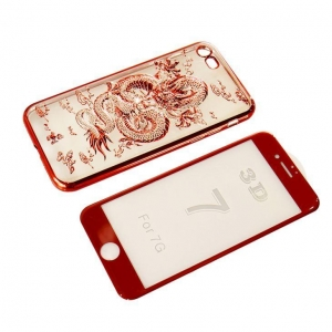 China New Cool 3D Dragon Style Flexible TPU Case For IPhone 7 With Screen Protector Glass on sale
