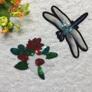 China Beaded Patches Dragonfly Flower Sequins Patches Applique on sale
