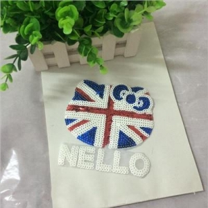 China Beaded Patches UK Flag Hello Kitty Sequin Patch on sale
