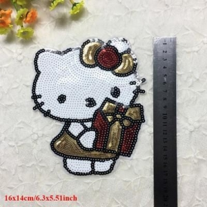China Beaded Patches Hello Kitty Sequin Patch on sale