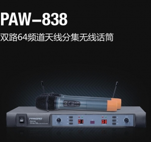 China PAW-838 UHF Dual Channel Wireless Microphone System on sale