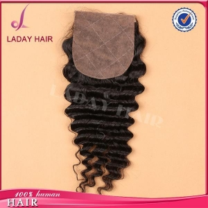 China 4*4 Inch Silk Base Top Lace Closure Deep Wave on sale