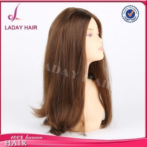 China Silky Straight Brown Colored Jewish Wig on sale