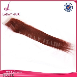 China 4*4 Inch Silk Base Top Lace Closure Straight Brown Color on sale