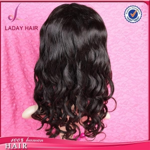 China Loose Wave Full Lace Wig 130% Density Natural Black on sale