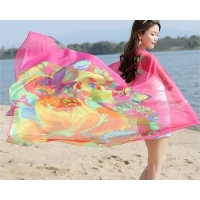 Best Ladies Long Lightweight Chiffon Scarf with Suncover Beach Printing Polyester For Womens