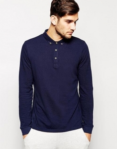 China Plain Long Sleeve Polo Shirts For Men on sale