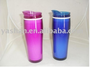 China 450ml 15OZ Promotion Coffee Cup,double Plastic Hot Coffee Thermos Mug Gift Water Bottle on sale