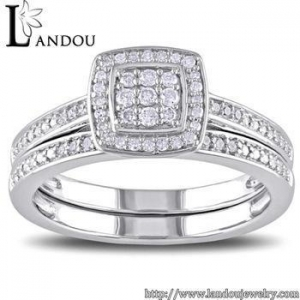 China Sterling silver white gold plated pave setting cz stone two piece halo bridal engagement ring set on sale