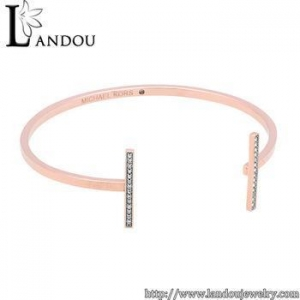 China Rose gold plated sterling silver white crystal adjustable cuff wire bangle bracelet on sale